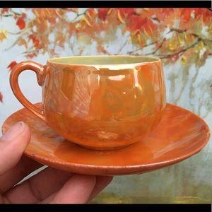 Vintage Shofu Japan Lusterware Orange Tea Cup Set